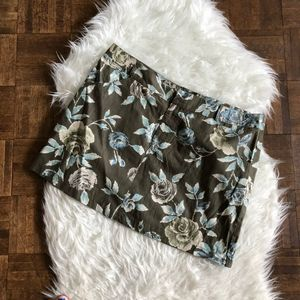 Band of Gypsies 11 Mini Skirt Green Blue Floral